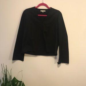 Oak +fort black kimono sleeve blouse sz small